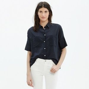 Madewell Courier Boy Shirt in Navy Clipdot